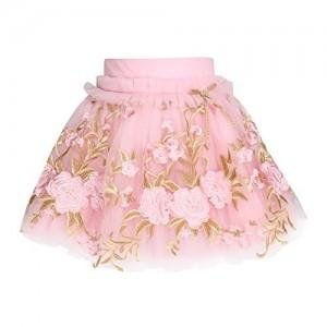 Cutecumber Pink Girls Net Floral Printed Skirt