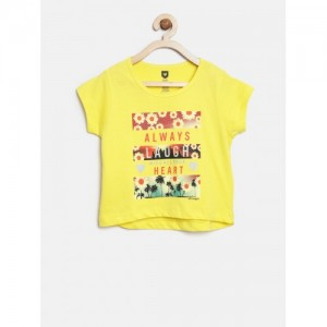 612 league Yellow Cotton Printed Round Neck T-shirt