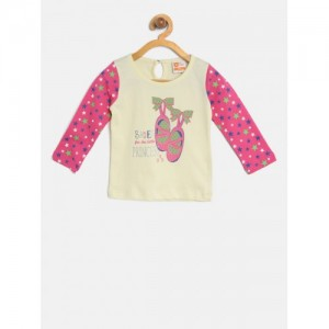 612 league Girls Cream-Coloured & Pink Printed Top