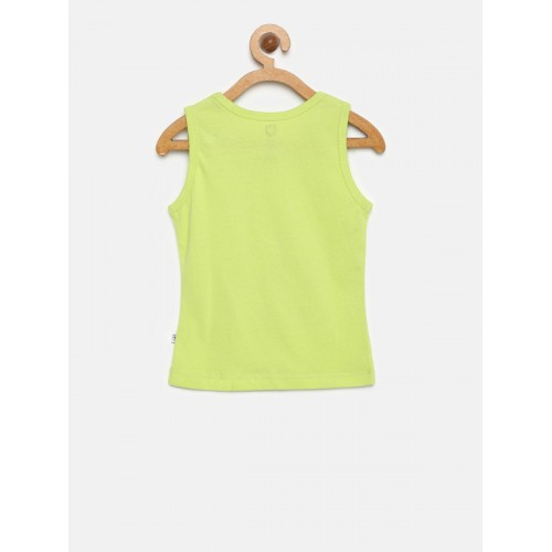 612 league Girls Lime green Cotton Printed Top