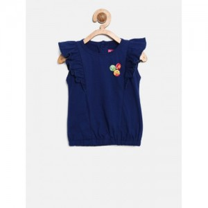 Little Kangaroos Girls Navy Blue Solid Blouson Top with Ruffles