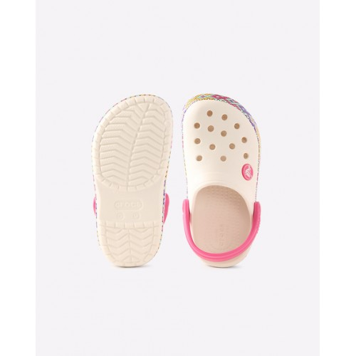 CROCS White Rubber Slingback Clogs with Cutouts