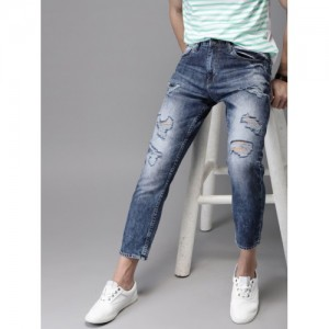 HERE&NOW Blue Tapered Fit Mid-Rise Mildly Distressed Ankle Length Jeans