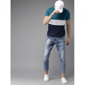 HERE&NOW Blue Tapered Fit Mid-Rise Clean Look Ankle Length Stretchable Jeans
