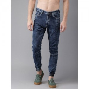HERE&NOW  Blue Mid-Rise Clean Look Stretchable Denim Joggers