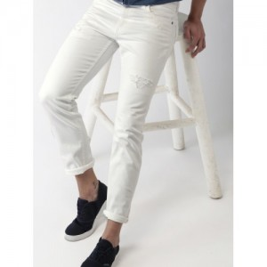 Mast & Harbour White Slim Fit Mid-Rise Clean Look Stretchable Jeans