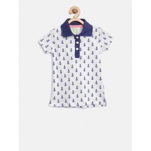 YK Girls Grey Melange & Navy Printed Polo Collar T-shirt