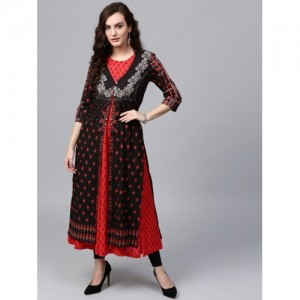 Rain & Rainbow Black Printed Kurta
