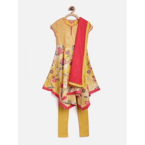 Biba Girls Yellow & Red Printed Panelled Kurta with Churidar & Dupatta