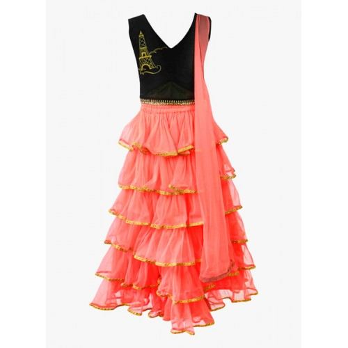 K&U Peach & Black Layered Lehenga Choli