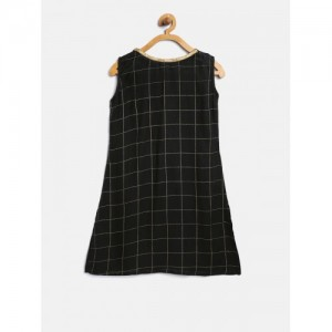 K&U Girls Black Checked Straight Kurta