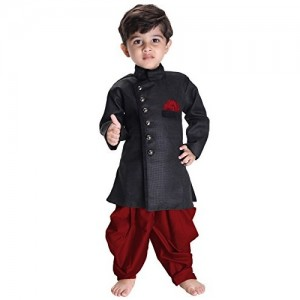 JBN Creation Black & Maroon Biker Jacket Indowestern Sherwani Suit Dress with Patiala