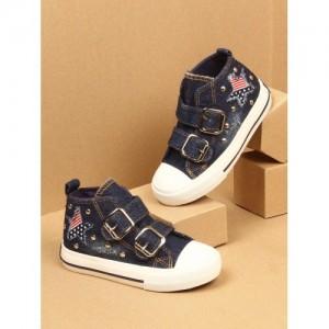 Walktrendy Kids Navy Blue Denim Sneakers