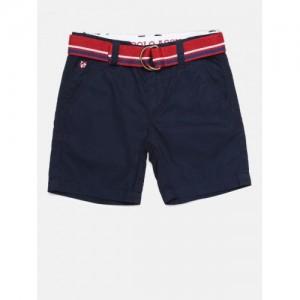 U.S. Polo Assn. Kids Boys Navy Blue Solid Regular Fit Chino Shorts