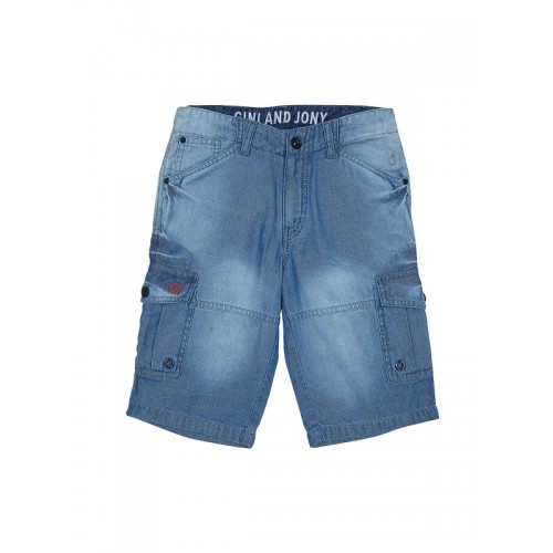 Gini and Jony Boys Blue Solid Regular Fit Denim Shorts