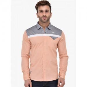 SMAG Men Peach & Grey Slim Fit Colourblocked Casual Shirt