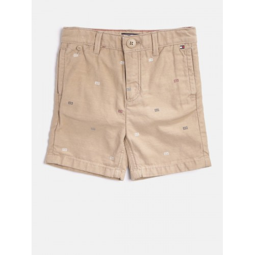 Tommy Hilfiger Boys Beige Printed Regular Fit Chino Shorts