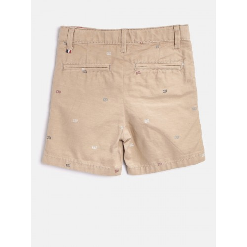 Tommy Hilfiger Boys Beige Printed Regular Fit Chino Shorts