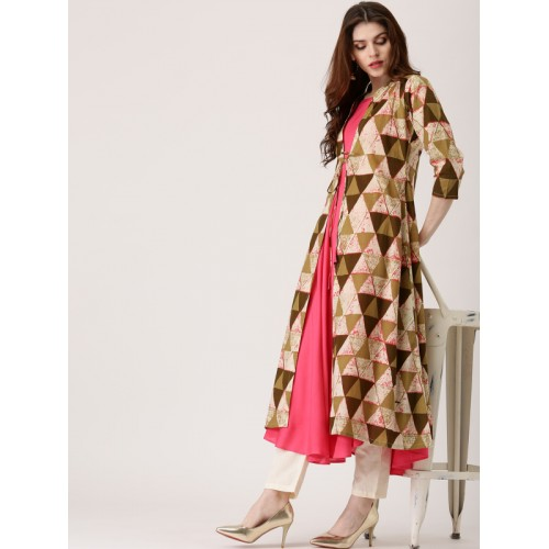 Libas Coral Pink & Brown Solid Anarkali Kurta with Ethnic Jacket