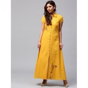 Jaipur Kurti Yellow Cotton Solid A-Line Maxi Kurta