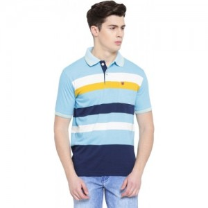 Duke Light Blue Striped Men Polo Neck T-Shirt