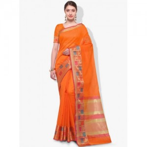 Varkala Orange Silk Printed Saree
