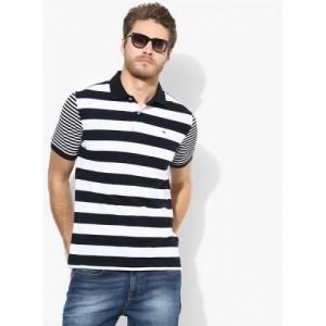 Peter England Navy Blue Striped Regular Fit Polo T-Shirt