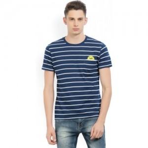 Lee White & Blue Striped Men's Round Neck T-Shirt