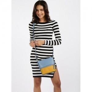 Mast & Harbour Blue & Yellow Colourblocked Sling Bag