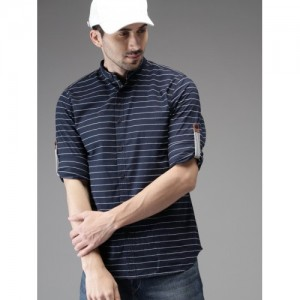 HERE&NOW Navy Blue & White Regular Fit Striped Casual Shirt