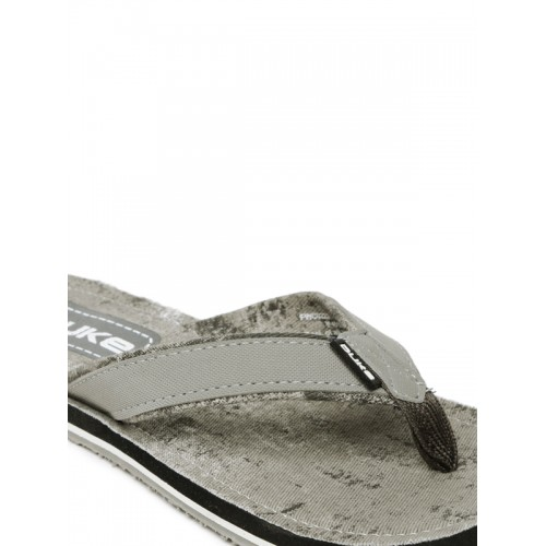 Duke Men Grey Flip-Flops with Washed Effect