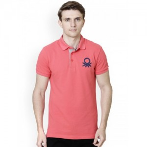 United Colors of Benetton Men Peach Cotton Solid Polo Collar T-shirt
