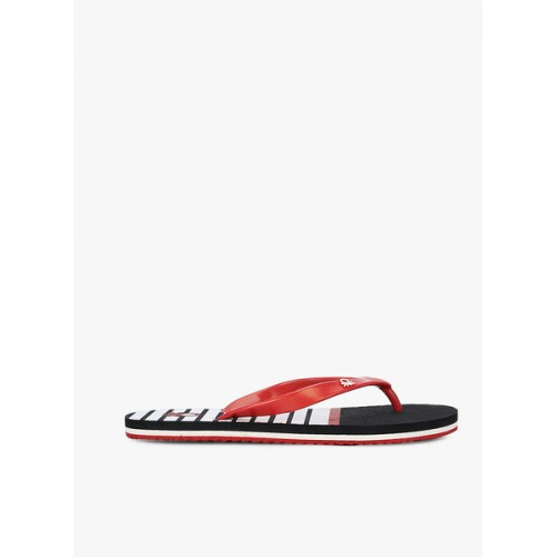 United Colors of Benetton Men Red & White Striped Thong Flip-Flops