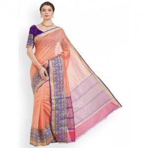 Kvsfab Orange & Purple Silk Cotton Woven Design Saree