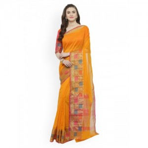 Kvsfab Orange & Multi-Coloured Silk Cotton Solid Saree