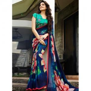 Shaily Multicoloured Georgette Printed Saree