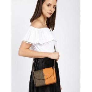 Baggit Brown & Mustard Colourblocked Sling Bag