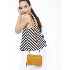 Accessorize Mustard Yellow Solid Sling Bag