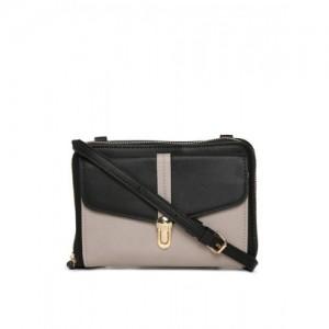 Accessorize Black & Grey Colourblocked Sling Bag