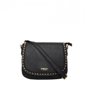 ToniQ Black Polyurethane Solid Sling Bag