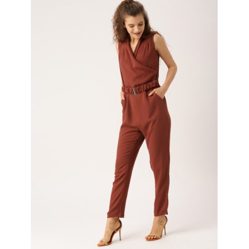 a7bd340a5d8 Buy DressBerry Brown Rayon Solid Basic Jumpsuit online