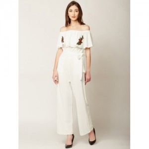 Miss Chase Off-White Rayon Solid Basic Jumpsuit