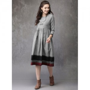 Anouk Grey Solid Shift Dress