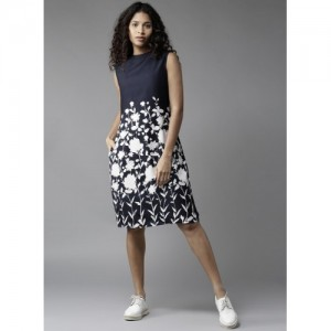 HERE&NOW Navy Blue Printed Shift Dress