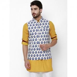 Svanik Off-White & Blue Printed Slim Fit Nehru Jacket