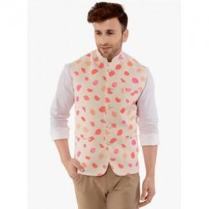 HANGUP Beige Cotton Polyester Printed Nehru Jacket