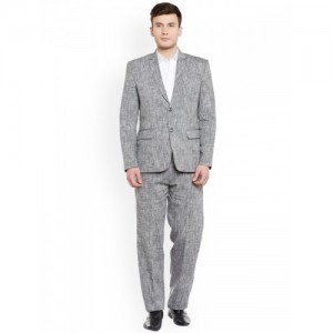 Wintage Men Silver Single-Breasted Formal Suit