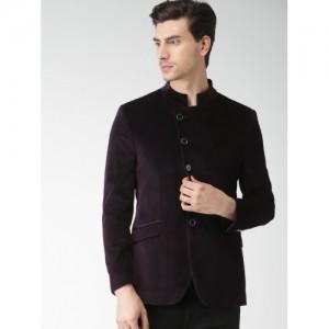INVICTUS Burgundy Slim Fit Single-Breasted Blazer
