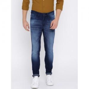 HIGHLANDER Men Blue Slim Fit Mid-Rise Clean Look Stretchable Jeans