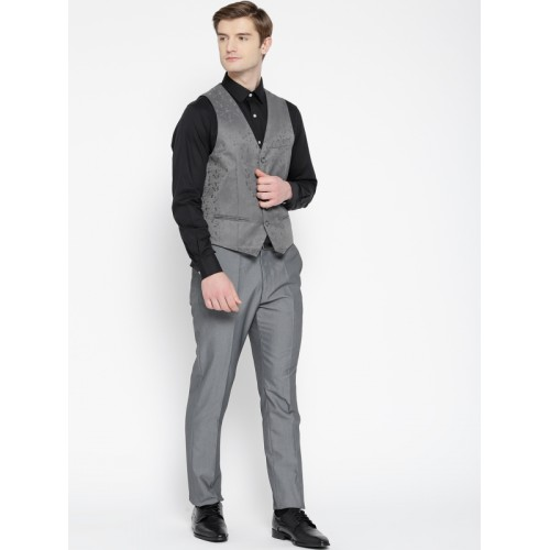 Arrow Grey & Maroon Self-Design Body Tailored Fit Waistcoat